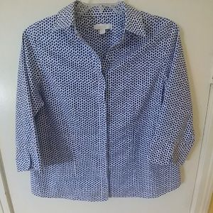CHICO'S BLUE & WHITE 100% COTTON CAREER TOP 2 L